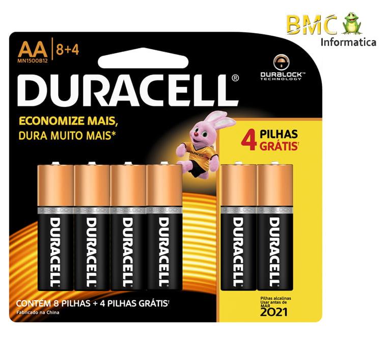 Pilha Duracell AA com 12 Unidades
