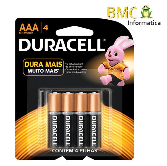 Pilha Duracell AAA com 4 Unidades