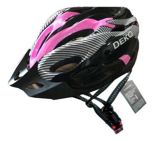 Capacete de Bicicleta com Sinalizador Deko - Preto/Rosa