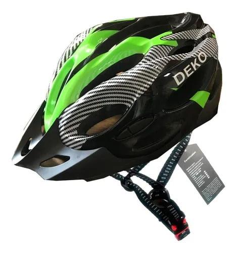 Capacete de Bicicleta com Sinalizador Deko - Preto/Verde