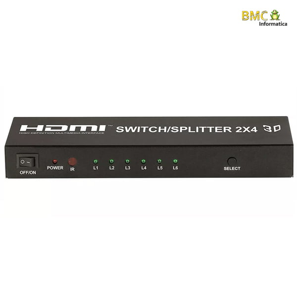 Distribuidor e Seletor HDMI 2X4 Full HD 1080P 3D