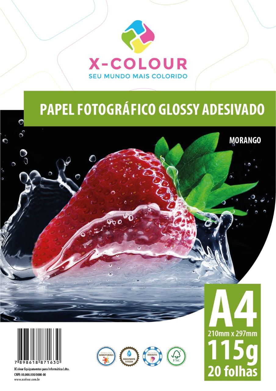 Papel Fotográfico Glossy Adesivado A4 210X297mm 115g