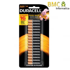 Pilha Duracell AAA com 16 Unidades