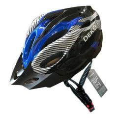 Capacete de Bicicleta com Sinalizador Deko - Preto/Azul