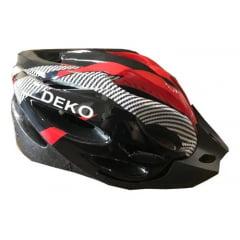 Capacete de Bicicleta com Sinalizador Deko - Preto/Vermelho