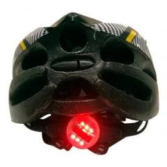 Capacete de Bicicleta com Sinalizador Deko - Preto/Amarelo