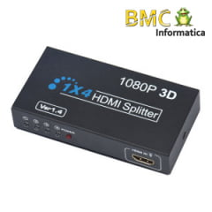 DISTRIBUIDOR SPLITTER HDMI 1X4 FULL HD 1080p 3D