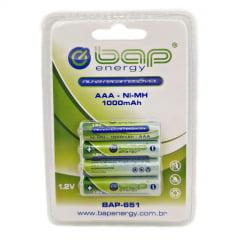 Pilha Recarregável AAA 1000mAH com 4 unidades - BAP
