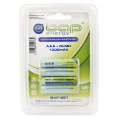 Pilha Recarregável AAA 1000mAh 1,2v com 4 unidades - BAP